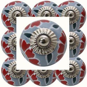 Moebelknoepfe-Set-6-8-10-Stk-Moebelgriffe-Keramik-Knoepfe-Moebelknopf-Grau-Rot-131