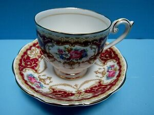 REGENCY QUEEN ANNE FINE BONE CHINA HEART SCROLL GOLD-MAUVE ROSE FOOTED ENGLAND