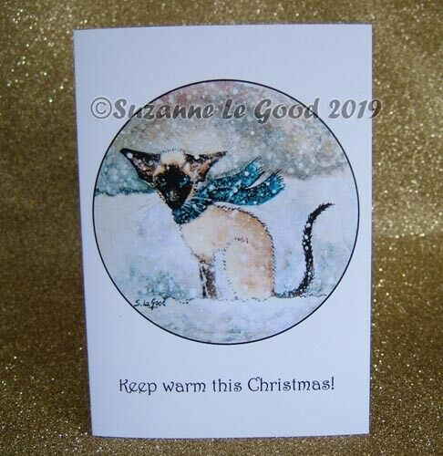 Siamese Cat snow art Christmas cards from original painting by Suzanne Le Good