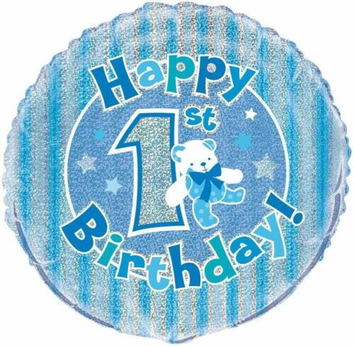"18/"" Boys Blue Happy 1st Birthday Foil Helium Balloon Party Decoration Teddy"