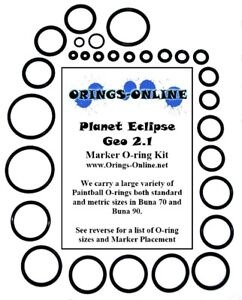 Planet Eclipse Geo 2 // 2.1 5x color coded paintball o-ring rebuild kit by Flasc Paintball
