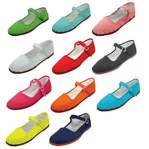 New Womens Cotton Mary Jane Shoes Flat Slip On Ballet Sandals Colors ...