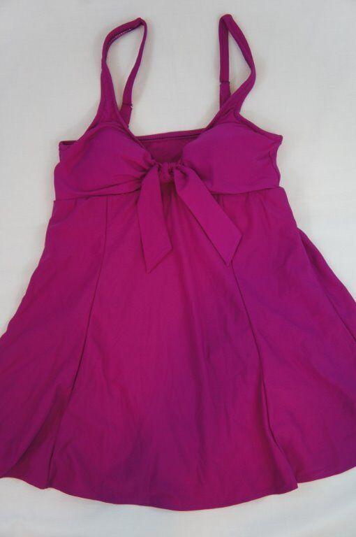 Swim Solutions Swimdress Sz 8 Fuchsia Pink Solid Bow Front Swimsuit 502502
