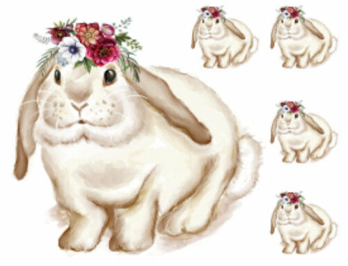 Vintage White Bunny Flower Bouquet Head Waterslide Decals Transfers AN779