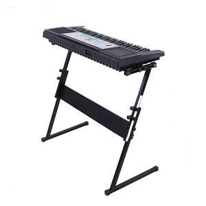 61 keys piano keyboard rack stand z shape type adjustable music stand black us ebay. Black Bedroom Furniture Sets. Home Design Ideas