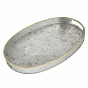 Barware-Decorative-Luxury-Galvanised-Zinc-Serving-Tray-with-Gold-Bound-Edges