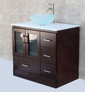36 Bathroom Vanity 36 Inch Cabinet White Top Vessel Sink Faucet Mgs