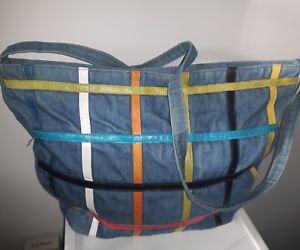 RETRO-jean-purse-color-blocks-DOVE-zip-large-TOTE-bag-crossbody-messenger-VTG