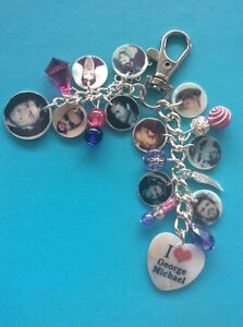 NEW-GEORGE-MICHAEL-MEMORY-PHOTO-HANDBAG-CHARM-PURSE-BAG-KEYRING-free-gift-ba