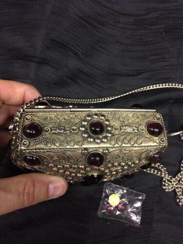 Handtasche Samt Vtg Detaillierte Sehr In Metall Und Kleine Stein Handgefertigt WpqpgBSw
