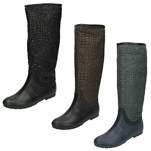 X1165-Ladies-Spot-On-Crocodile-Design-Wellington-Boot-2-Colours-Great-Price