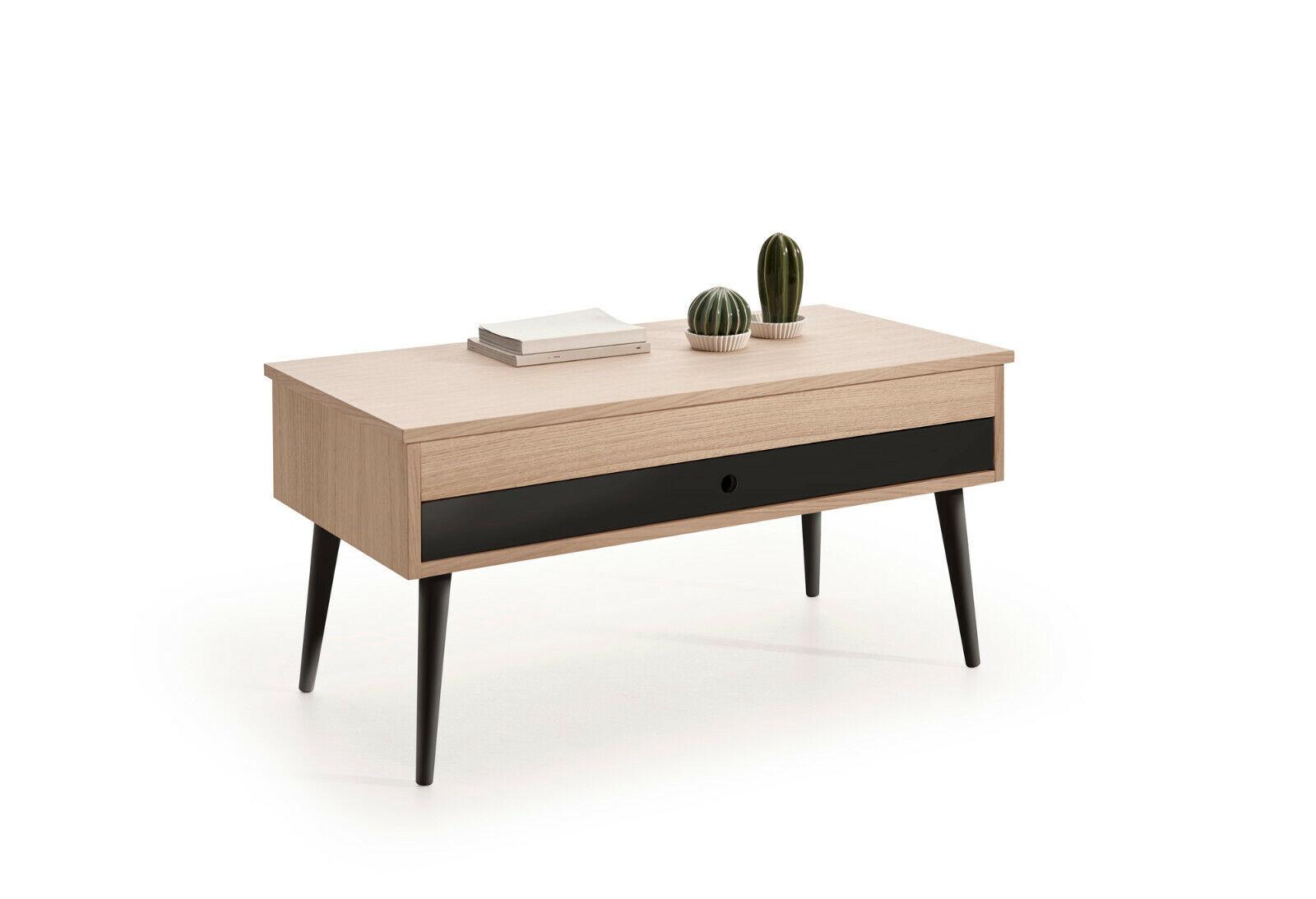 Hogar24- Mesa de Centro Elevable con cajón deslizante acabado color Roble-Negro.