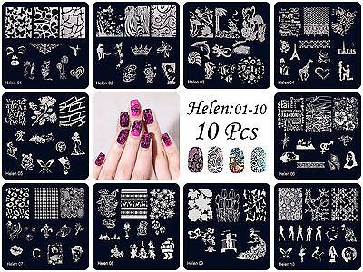 HOT Manicure Template Nail Art Printing Image Polish Stamp Plates Scraper Helen