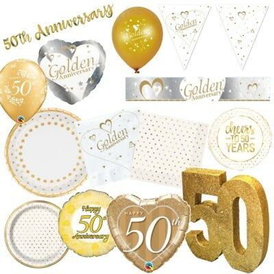 Anniversary Wedding Golden Gold 50th Celebrations Party Decorations Tableware