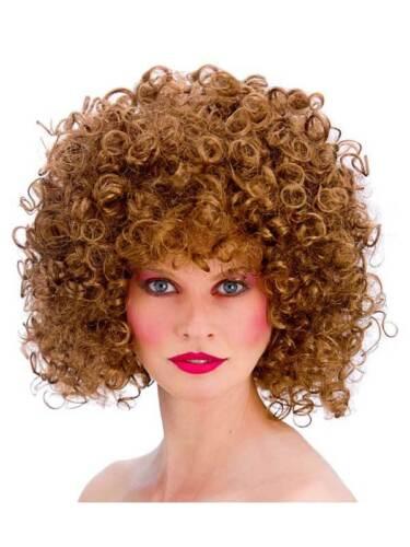 Anni/'70 Hippy anni/'80 Marrone Boogie Babe Disco Parrucca Riccia Costume Afro PERM Retrò