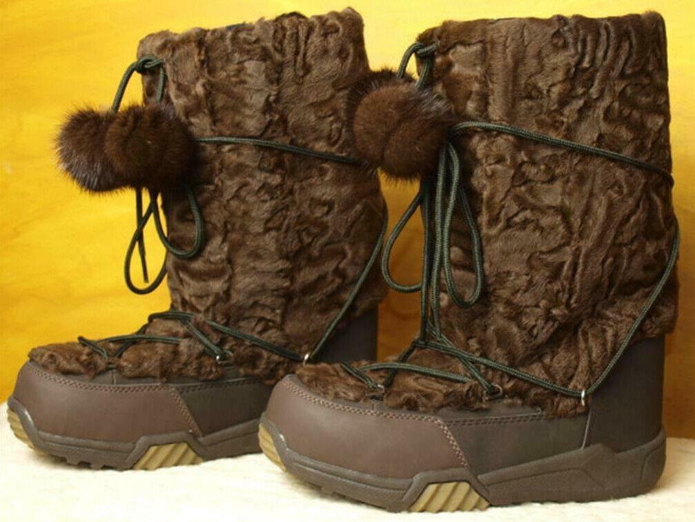 botas cordero Pelz visón botas de nieve de invierno bota ski borla marrón chocolate 40