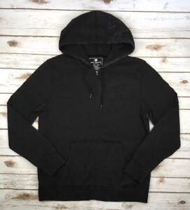 Mens-MEK-Denim-Jeans-Black-Hoodie-Full-Zip-Sweater-Faded-Jacket-Lightweight-M