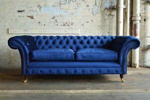 Image Is Loading Modern Handmade 3 Seater Plush Navy Blue Velvet