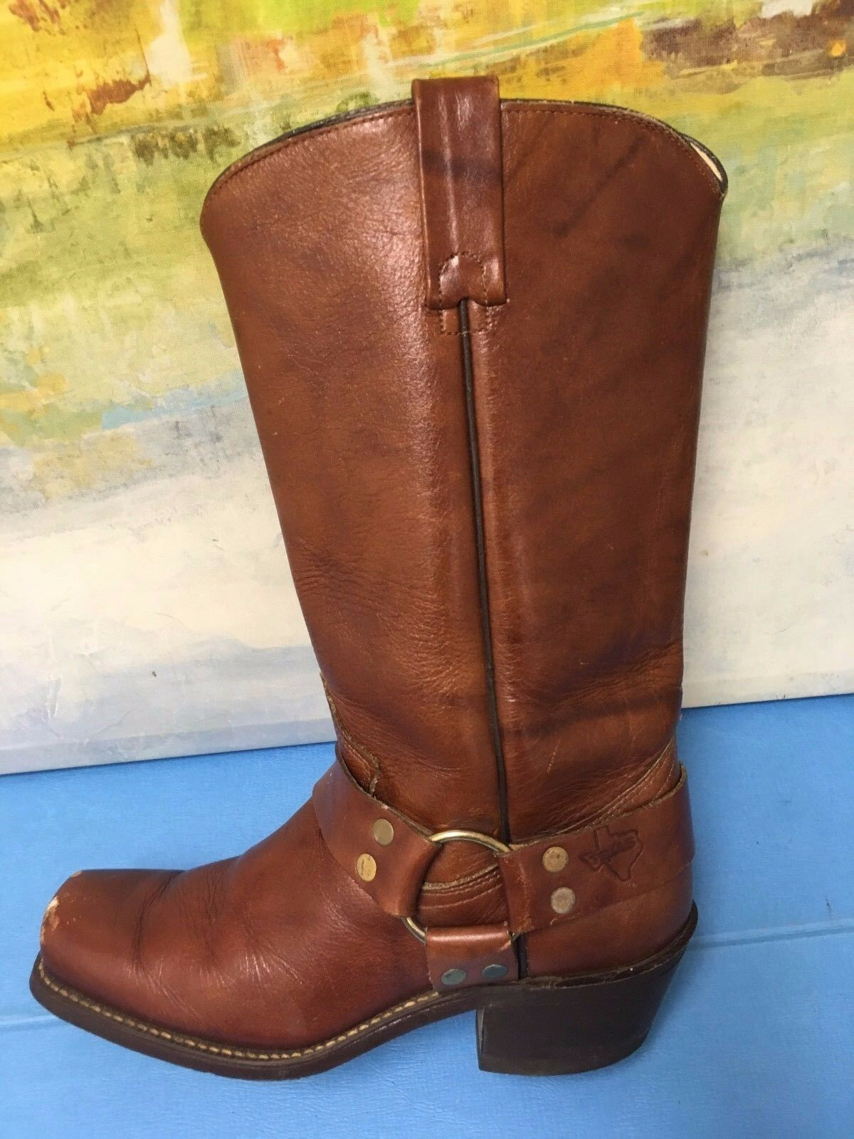 TEXAS BRAND Distressed Leather Harness Stiefel Sz 61 2 D