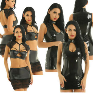 Women-039-s-Sexy-Wet-Look-Faux-Leather-Bodycon-Lace-Mini-Dress-Party-Pencil-Dresses