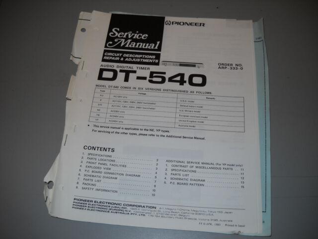 PIONEER DT-540 AUDIO DIGITAL TIMER. Service Manual Original Paper