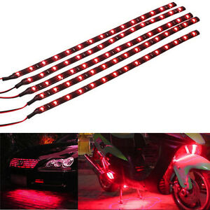 5-X-Red-15-LED-30CM-Car-Grill-Flexible-Waterproof-Light-Strip-SMD-12V-Sales