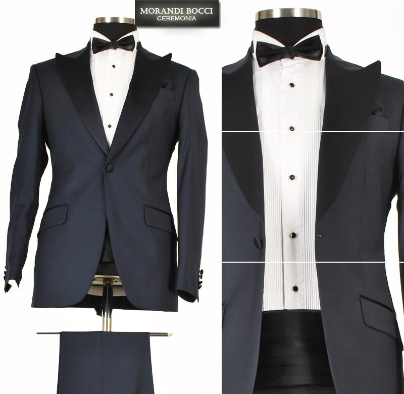 444 Hochzeitsanzug 7-teiliger Smoking - Herrenanzug Anzug in Dunkel Blau Gr.58