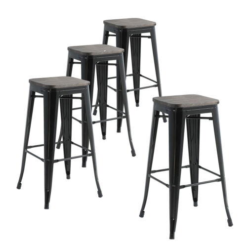 Set Of 4 Metal Bar Stools 30 Indoor