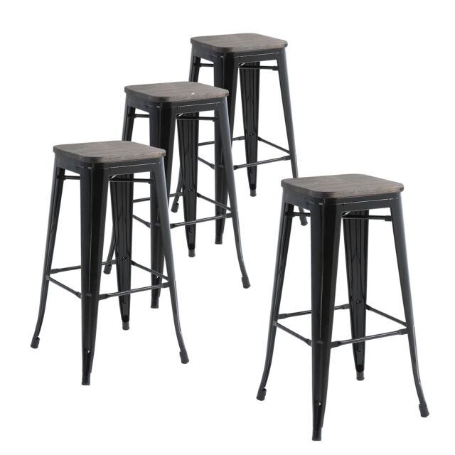 Set Of Four Black Wooden Seat 30 In Bar Hight Metal Stools Indoor