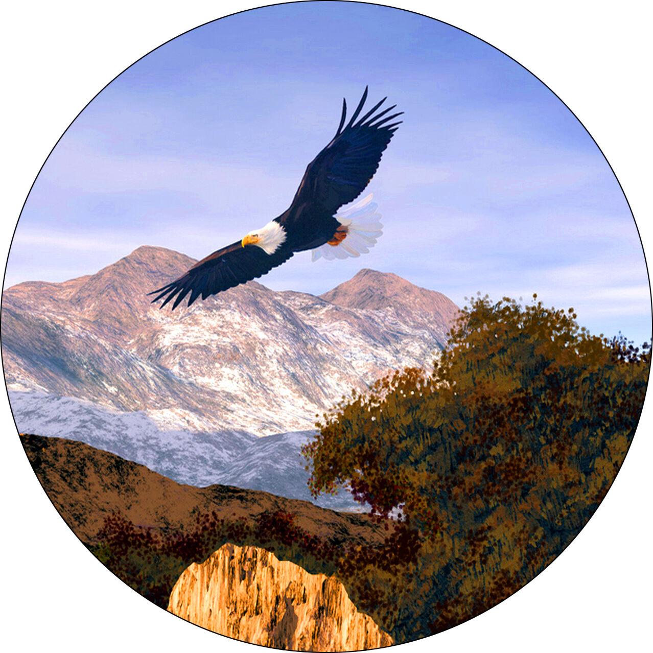 Eagle soaring in mountain Spare Tire Cover Jeep RV Camper etc(all sizes avail
