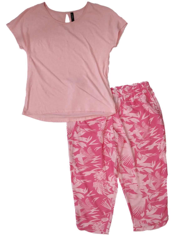 Womens Hot & Light Pink Tropical Floral Bamboo Pajamas Fern Leaf Sleep Set