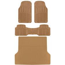 CarXS Proliners Custom Rubber Floor Mats Beige-4pc Heavy Duty Diamond Grid