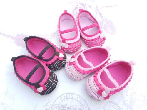 Bébé fille bébé premier landau Chaussures Occasion partie ballerine rose taille 0-12 mths