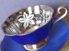 RARE Vintage Royal Albert bone china blue and silver avon shape tea cup teacup