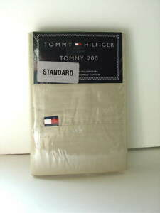 Set of 2 Tommy Hilfiger Standard Size Cotton Pillowcases Tommy 200 KHAKI NEW NWT