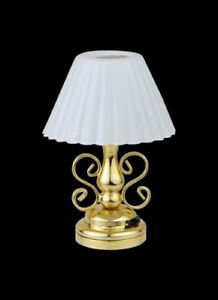 Details About Dollhouse Miniature Battery Operated Led Fancy Brass Table Lamp Mw786a204