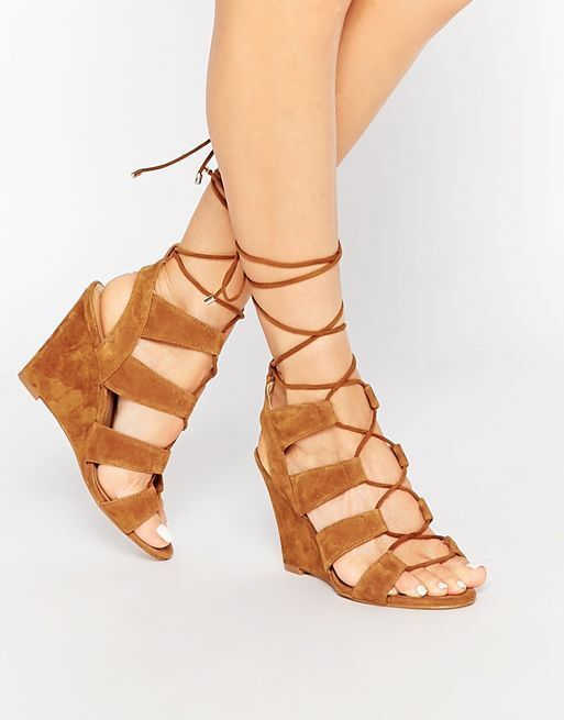 BN Beautiful Designer ALDO Cognac Ghillie Wedge Gladiator Sandal shoes 7.5