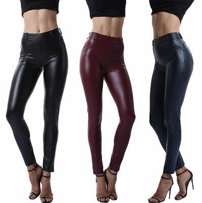 Trainingshose Damen Yogahose Ladies Tech Leder Sport Leggings Yoga Pants Frauen