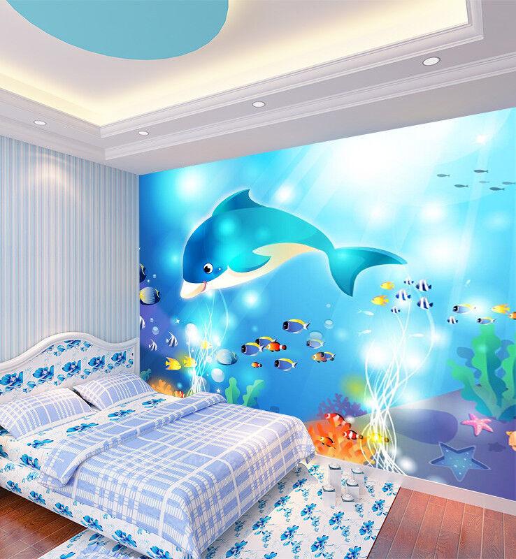 3D Blau Dolphin Fish 7 Wall Paper Murals Wall Print Wall Wallpaper Mural AU Kyra