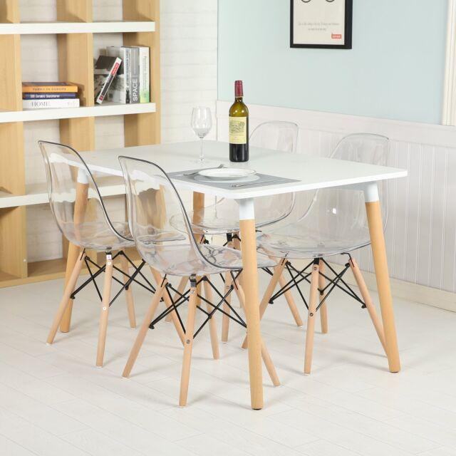 Eggree Lot De 4 Chaises De Salle A Manger Retro Transparente Design Dsw Moderne