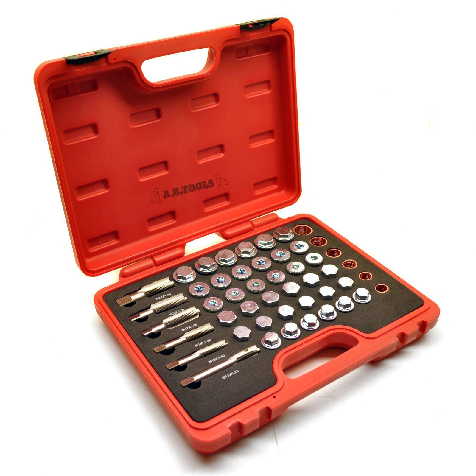 Oil drain sump plug differential gear box damaged thread repair kit 114pcs AT54