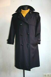 VINTAGE 80 s Berghaus trench-coat Mac Laine Veste Femme Pardessus Bleu UK 8 EU 38
