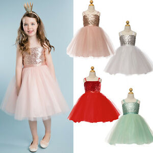0cccef88c UK Baby Girls Kids Sequins Party Dress Pageant Wedding Bridesmaid ...