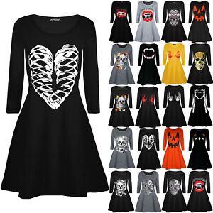 Womens-Ladies-Halloween-Skeleton-Bones-Heart-Printed-Smock-Flared-Swing-Dresses