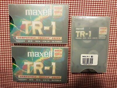 3x Maxell Tr-1 Qic-80 400mb Uncompressed 800 Mb Co Travan Data Cartridge Neu
