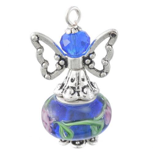 5 Bijoux Pendentif Breloque Ailes Ange Bleu foncé Perles Fait Main 2.9x1.8cm