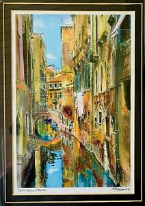 Textured-Canal-Lithograph-by-M-Roberts-Framed-Glass-amp-Matted-Signed-NEW