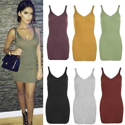 Womens Celebrity Inspired Knitted Deep V Neck Bodycon Ribbed Vest Top Mini Dress