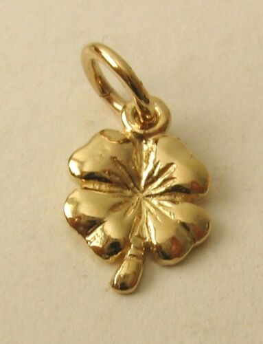 SOLID 9K 9ct Yellow Gold SHAMROCK 4 FOUR LEAF CLOVER GOOD LUCK Charm Pendant