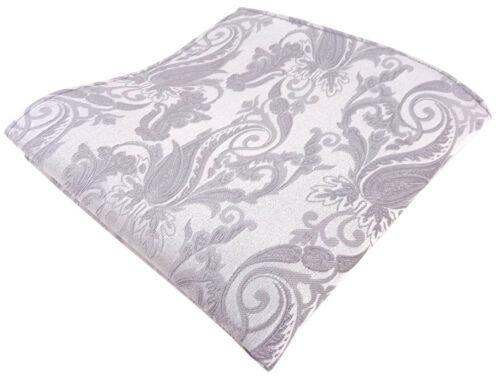 Einstecktuch Gr Seideneinstecktuch in silber Rankenmuster 25 x 25 cm